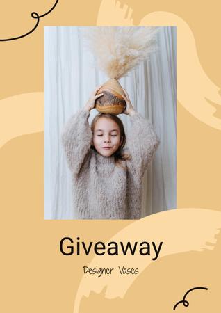 Ontwerpsjabloon van Poster van Vases Giveaway announcement with funny Girl