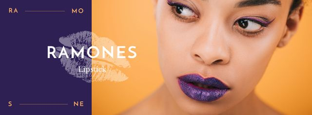 Ontwerpsjabloon van Facebook cover van Young attractive woman with purple lips