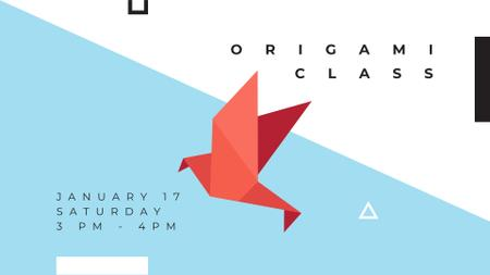 Ontwerpsjabloon van FB event cover van Origami Learning Offer with Paper Bird