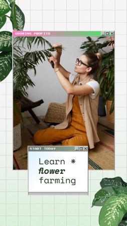 Plantilla de diseño de Woman caring for Flowers Instagram Story