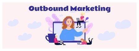 Modèle de visuel Marketing Team working online - Facebook cover
