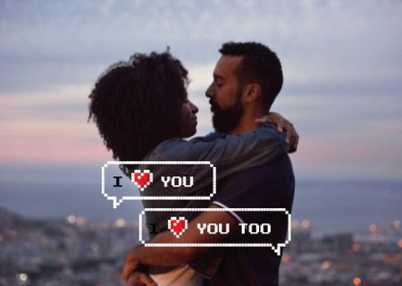 Ontwerpsjabloon van Card van couple in love