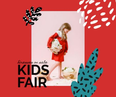 Kids Fair Announcement with Little Girl and Flowers Large Rectangle Design Template