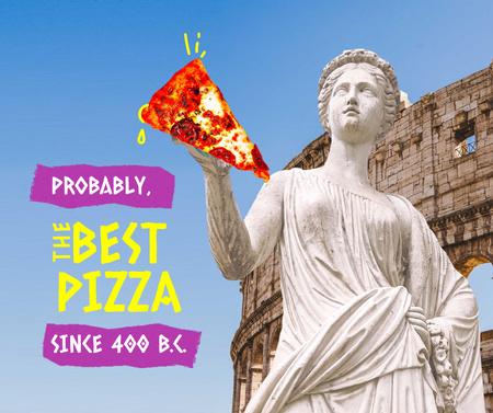 Plantilla de diseño de Funny Illustration of Antique Statue holding Pizza Facebook