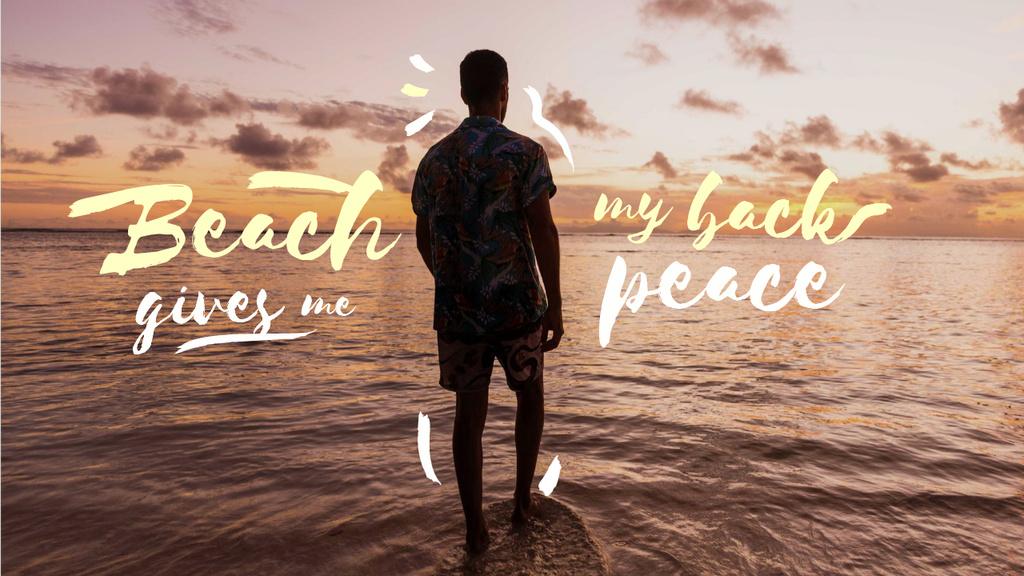 Plantilla de diseño de Summer Travelling Inspiration with Man enjoying Sea Youtube Thumbnail