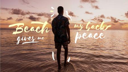 Summer Travelling Inspiration with Man enjoying Sea Youtube Thumbnail – шаблон для дизайну