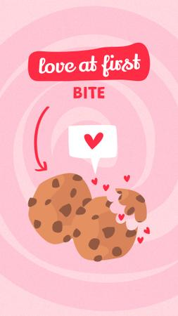 Plantilla de diseño de Cute Phrase with Bitten Biscuits Instagram Story