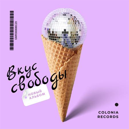 Disco ball in waffle cone Album Cover – шаблон для дизайна