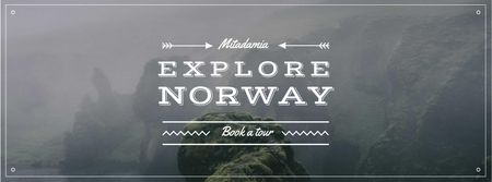 Fjord Cruise Promotion Scenic Norway View Facebook cover – шаблон для дизайну