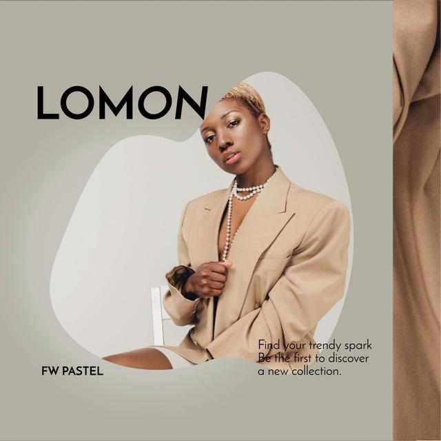 Fashion Ad with Attractive woman in Stylish Blazer Animated Post – шаблон для дизайну