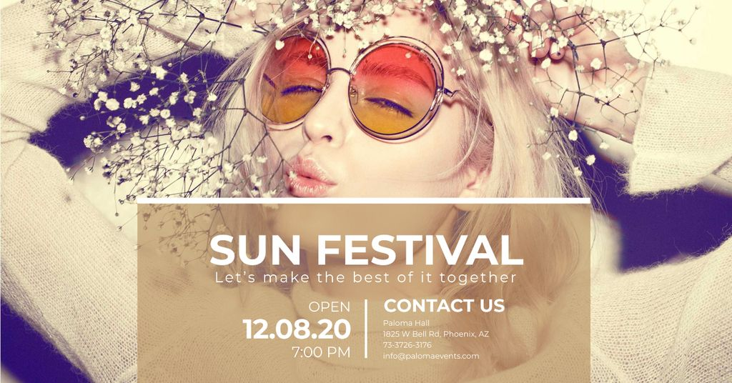 Festival advertisement with bright Girl — Modelo de projeto