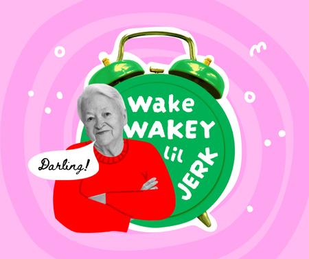 Funny Grandma with Huge Alarm Clock Facebook Modelo de Design