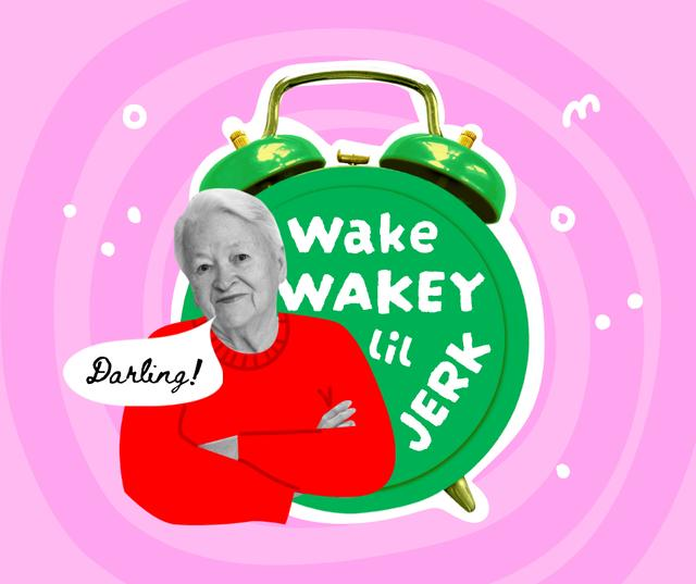 Funny Grandma with Huge Alarm Clock Facebookデザインテンプレート