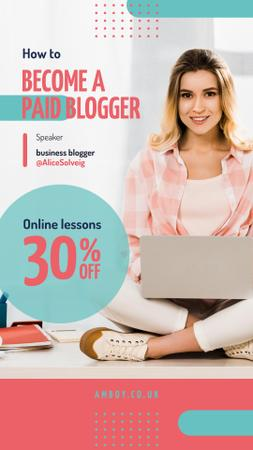 Blogging Event Invitation Woman Typing on Laptop Instagram Story – шаблон для дизайну
