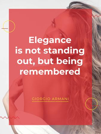 Elegance quote with Young attractive Woman Poster US Tasarım Şablonu