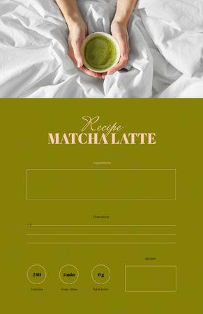 Woman holding tasty Matcha Latte Recipe Card Modelo de Design