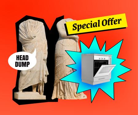 Funny Sale announcement with Headless Statues Facebook Design Template