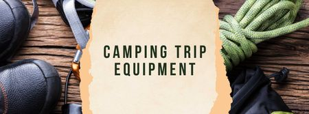 Camping Trip Equipment Offer with Travelling Kit Facebook cover Modelo de Design