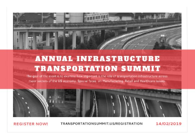 Annual infrastructure transportation summit Postcardデザインテンプレート