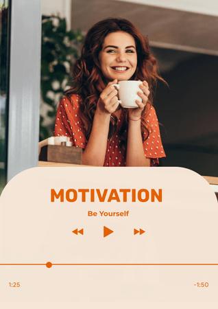 Modèle de visuel Motivational Phrase with Happy Young Woman - Poster