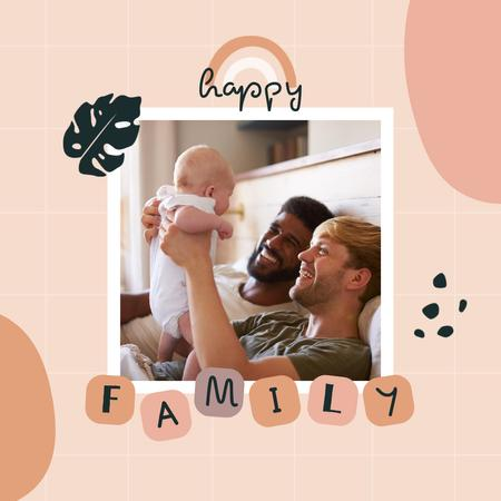 Family Day Greeting with Cute LGBT Couple and Child Instagramデザインテンプレート