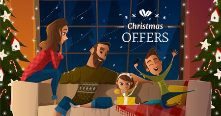 Designvorlage Christmas Offer with Family celebrating für Facebook AD