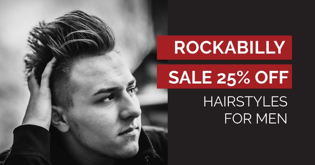 Discount Offer on Hairstyles for Men Facebook AD Design Template