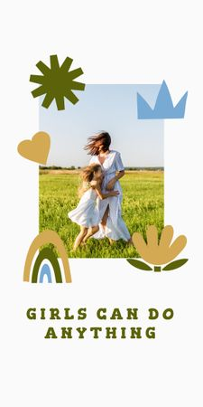 Girl Power Inspiration with Woman holding Happy Child Graphic Modelo de Design