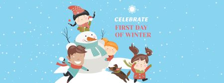 Kids celebrating First Day of Winter with Snowman Facebook coverデザインテンプレート