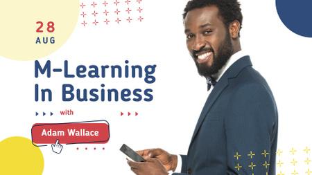 Smiling Businessman holding Smartphone FB event cover Modelo de Design