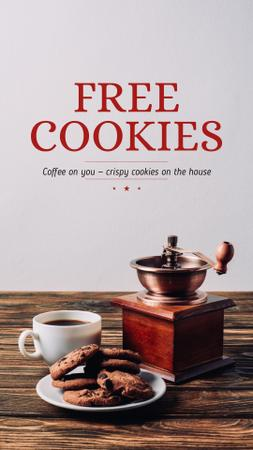 Platilla de diseño Coffee Shop Promotion with Coffee and Cookies Instagram Story