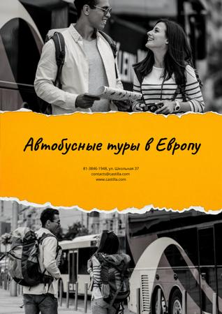 Bus Tours to Europe Offer with Travellers in city Poster – шаблон для дизайна
