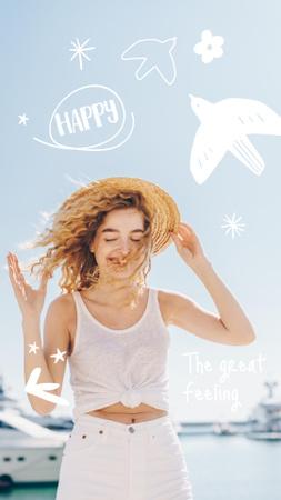 Plantilla de diseño de Mental Health Inspiration with Happy Woman Instagram Story