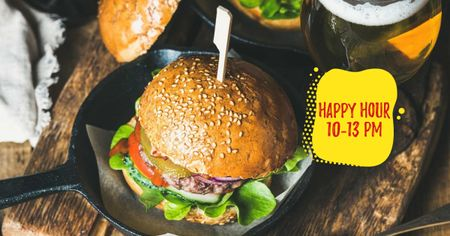 Modèle de visuel Fast Food menu Tasty burger - Facebook AD