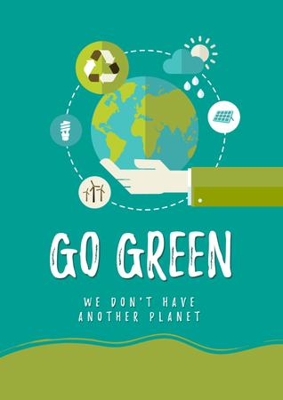 Designvorlage Eco lifestyle Concept with Planet in Hands für Poster
