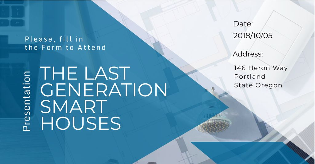 Invitation to smart houses Presentation Facebook AD Modelo de Design