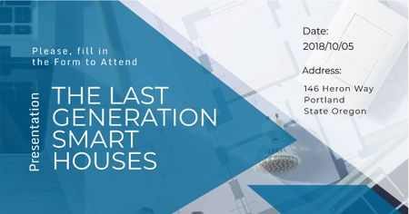 Ontwerpsjabloon van Facebook AD van Invitation to smart houses Presentation