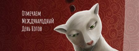 Cat Day Celebration Announcement Facebook cover – шаблон для дизайна