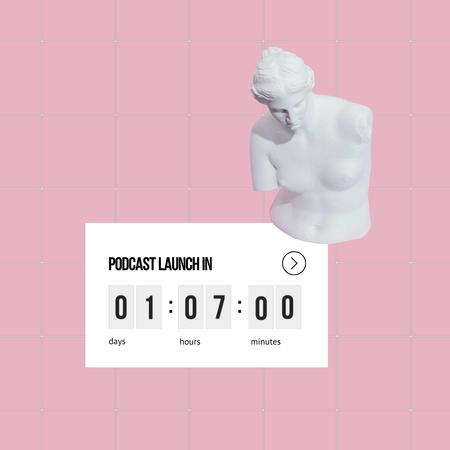 Plantilla de diseño de Podcast Launch Ad with Antique Statue Animated Post