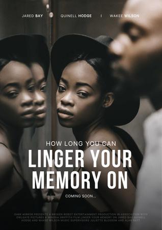 Modèle de visuel New Movie Announcement with Woman's Reflection - Poster