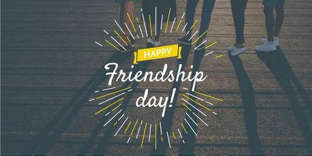 Friendship Day Greeting with Young People Together Twitter Design Template