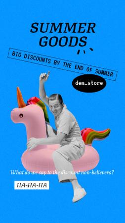 Funny Man on Inflatable Unicorn Instagram Story Modelo de Design