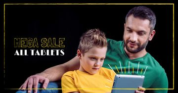 Tablets Sale Offer with Father and Kid
