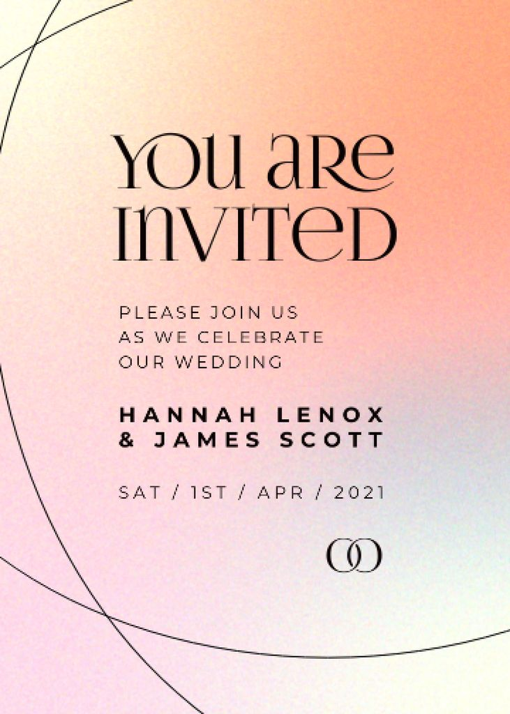 Wedding Day Announcement on Colorful Gradient Invitation Modelo de Design