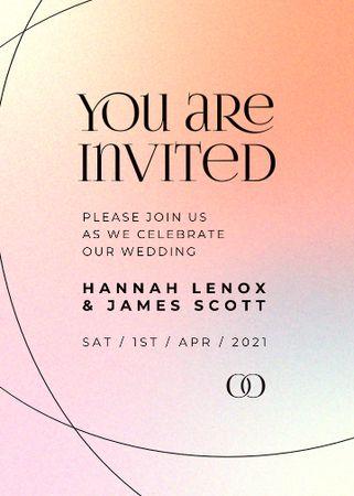 Wedding Day Announcement on Colorful Gradient Invitation – шаблон для дизайну