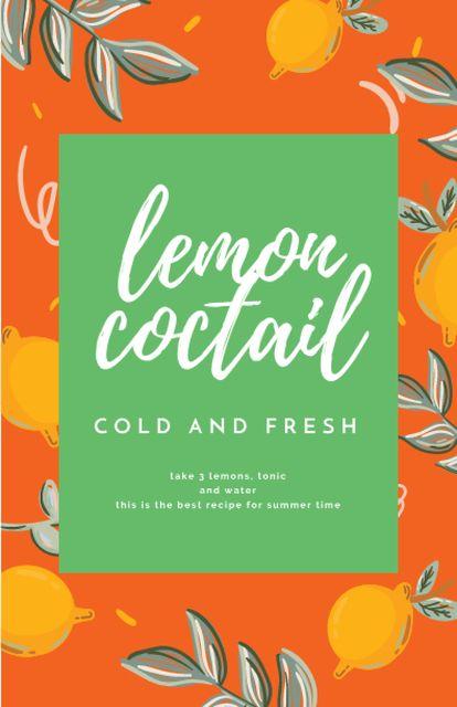 Platilla de diseño Lemon Cocktail Cooking Steps Recipe Card