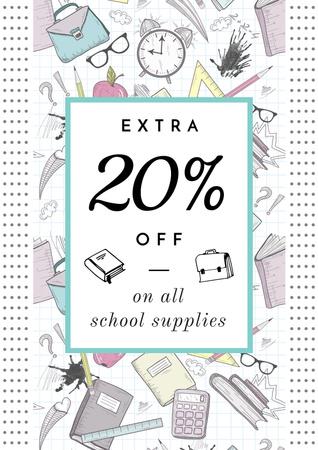 School supplies sale advertisement Posterデザインテンプレート