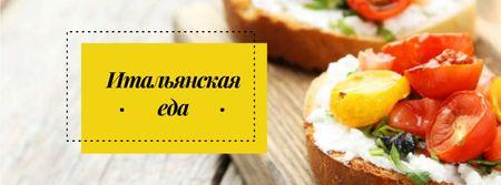 Restaurant promotion with Italian dish Facebook cover – шаблон для дизайна