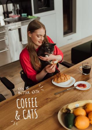Plantilla de diseño de Cat with Morning Coffee Poster