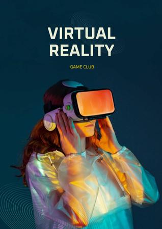 Ontwerpsjabloon van Poster van Virtual Reality Game Club Ad with Woman in Glasses